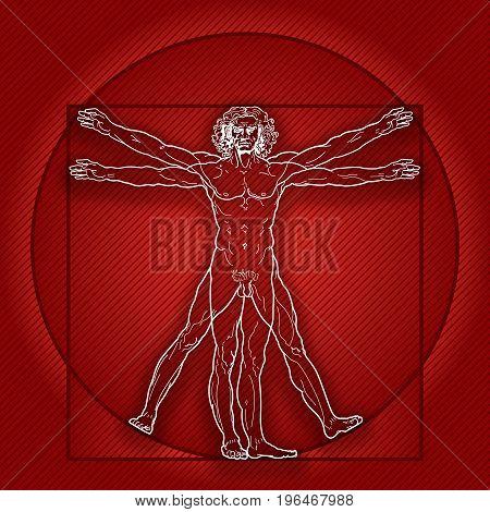 «HOMO VITRUVIANO». The Vitruvian man / Leonardo's man. Detailed drawing on basis of artwork masterpiece by Leonardo da Vinci, ancient manuscript performed by him circa 1490. (Dark Red Velvet version).