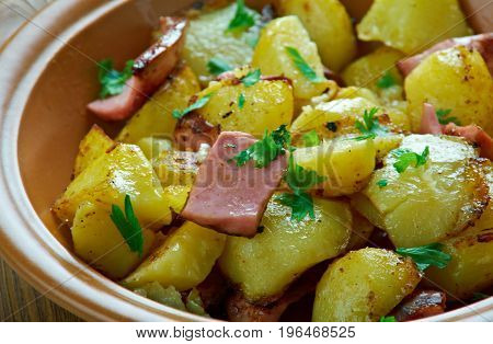 Bratkartofle - Polish Home fries close up