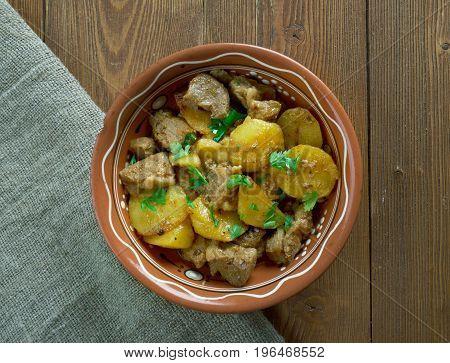 Tuhlinott- Hot Pot Estonian cuisine. close up