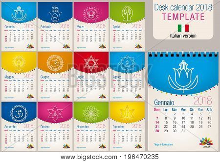 Useful desk calendar 2018 colorful template with yoga and reiki icons. Size: 150mm x 210mm. Format A5 vertical. Italian version