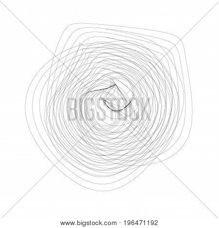 Abstract black linear swirling element on a white background