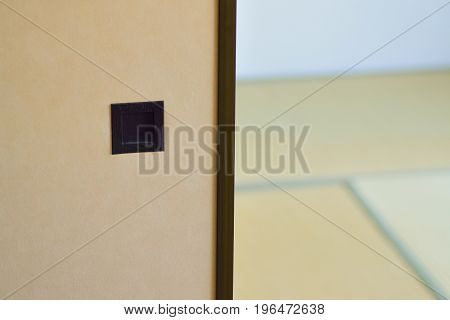Japanese tradition house interiors with plywood partition & Tatami floor mats in horizontal frame