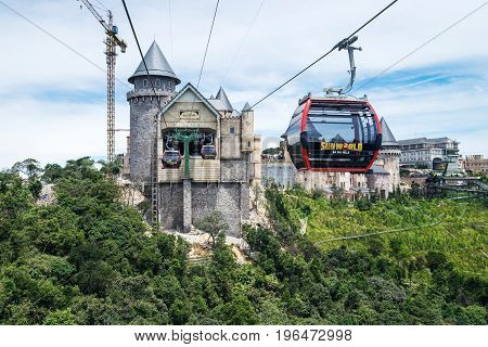 Danang Vietnam - June 21 2017: Aerial view of Ba Na Hills Mountain Resort with The longest non-stop single track cable car is 5801 m (19.032 ft) in Ba Na Hills Da Nang City Vietnam
