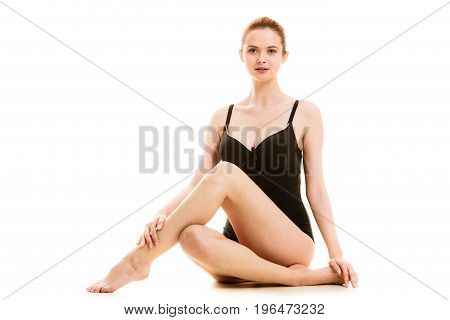 Sitting Woman In Underwear Showing Smooth Legs