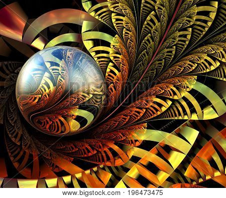 3D rendering combo artwork with fractal and fractal flower spiral button