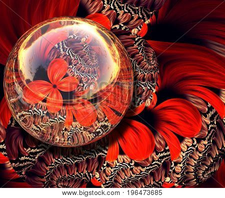3D rendering combo artwork with fractal and fractal butterfly button