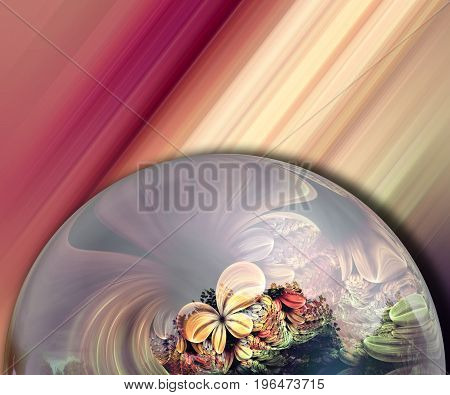 3D rendering combo artwork with fractal and fractal flower button