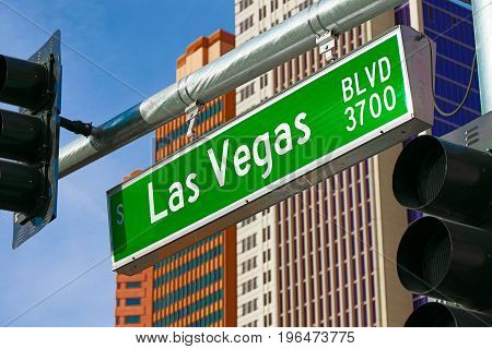 The Road Sign of Las Vegas BLVD