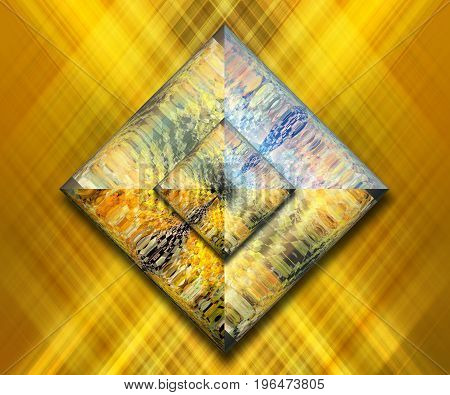 3D rendering combo artwork with fractal and fractal square buttons
