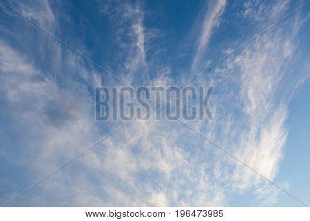 Beautiful cirrus clouds sky scape after sunset