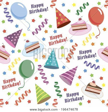Happy birthday. Seamless background. Color vector illustration
