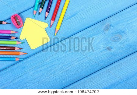 School Accessories With Shape Of School Building, Copy Space For Text On Boards