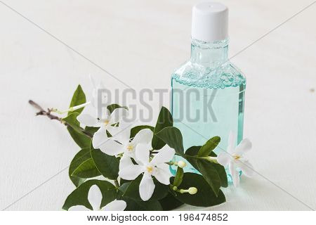 mouthwash for healthy care oral cavity from nature on white