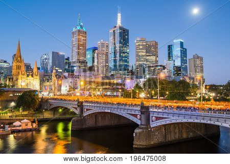 Melbourne cityscape the most liveable city in the world in Victoria state of Australia.