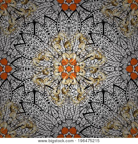 Pattern on orange and white background with white elements. Oriental ornament in the style of baroque. Vector oriental ornament. Traditional classic white pattern.