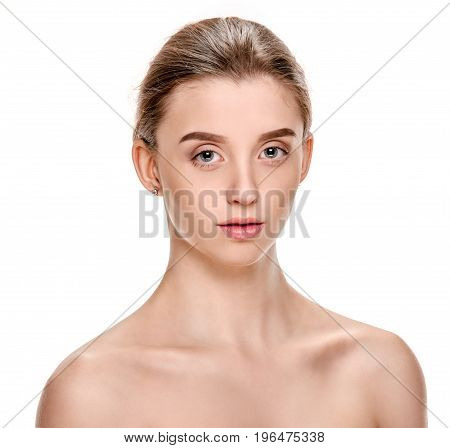 Portrait of calm allure woman with smooth fresh skin