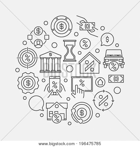 Leasing round linear illustration - vector money and finance creative sign in thin line style