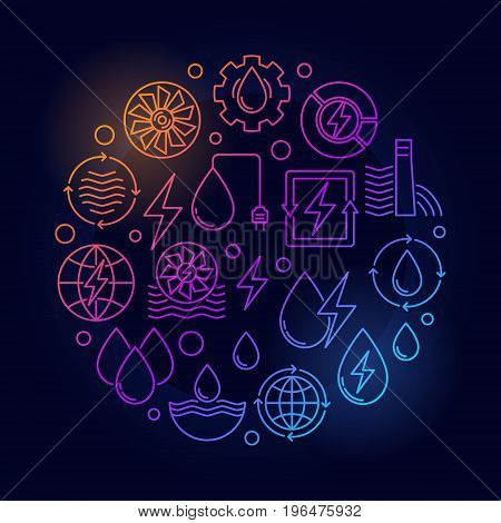 Water power round colorful illustration. Vector renewable energy creative linear symbol made with hydroelectric power icons on dark background