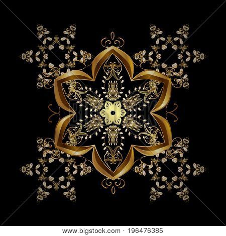 Illustration. Snowflakes snowfall. Beautiful vector golden snowflakes isolated on black background. Falling Christmas stylized gold snowflakes.