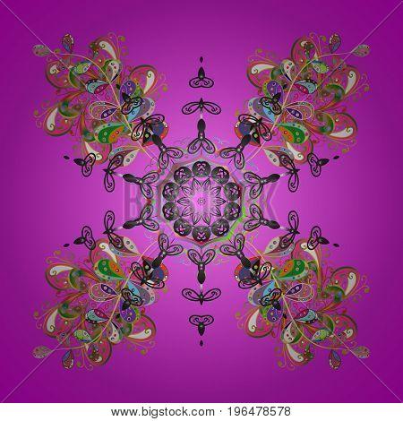 Snowflake isolated on lilac background. Snowflake Icon. Snowflake Vector illustration.