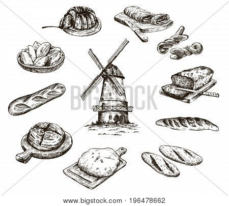 windmill and fresh bakery products. homemade baking. bakery products. vector sketch on white background