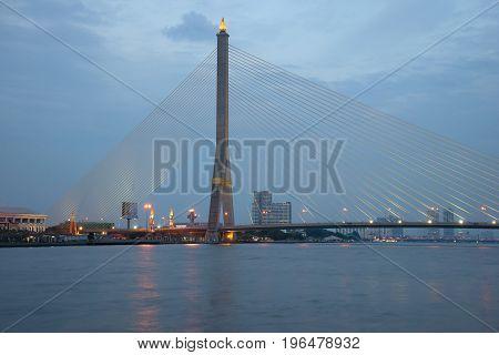 BANGKOK, THAILAND - JANUARY 04, 2017: The bridge of King Rama VIII in the evening twilight