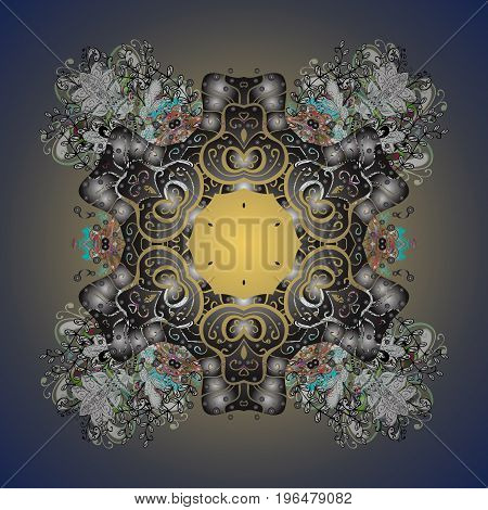 Flat design with abstract snowflakes isolated on colorful background. Snowflake ornamental pattern. Vector illustration. Snowflakes background. Snowflakes pattern.