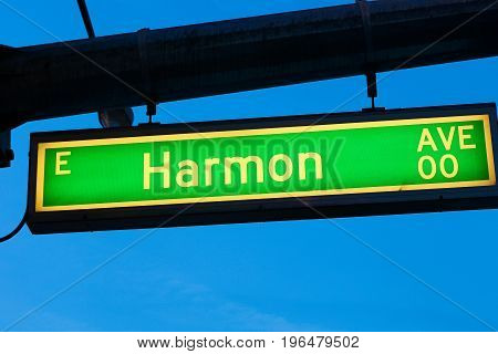 Photo of The Road sign of Harmon AVE