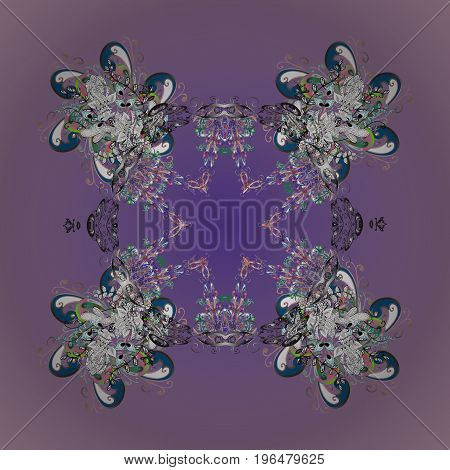 Snowflake vector pattern. Isolated cute snowflakes on colorful background. Vector illustration. Snowflakes on a colorful background.