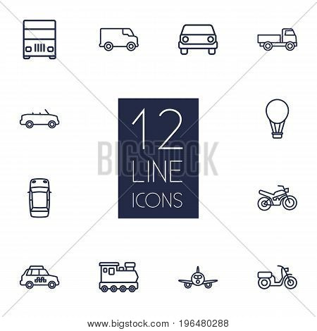 Collection Of Lorry, Moped, Van And Other Elements. Set Of 12 Traffic Outline Icons Set.