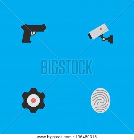 Elements Bioskyner, Supervision, Weapon And Other Synonyms Supervision, Mechanical And Fingerprint. Vector Illustration Set Of Simple Crime Icons.