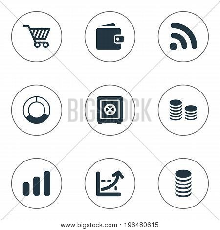 Vector Illustration Set Of Simple Finance Icons. Elements Earnings, Wireless Connection, Circle Diagram And Other Synonyms Access, Percent And Rate.