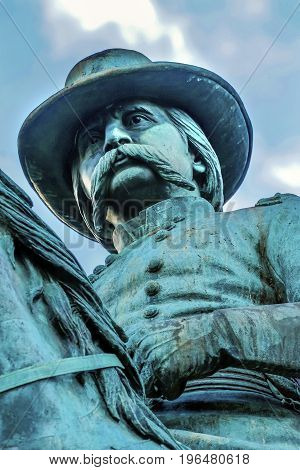 General John Logan Memorial Civil War Statue Logan Circle Washington DC. Statue dedicated in 1901 Sculptors Franklin Simmons and Richard Hunt. Logan was close to US Grant promoted to Brigadier General at Fort Donelson won the Congressional Medal of Honor