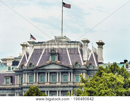 Old Executive Office Building Dwight Eisenhower Building Vice President's Office Washington DC. Located next to White House built from 1871 to 1888 poster