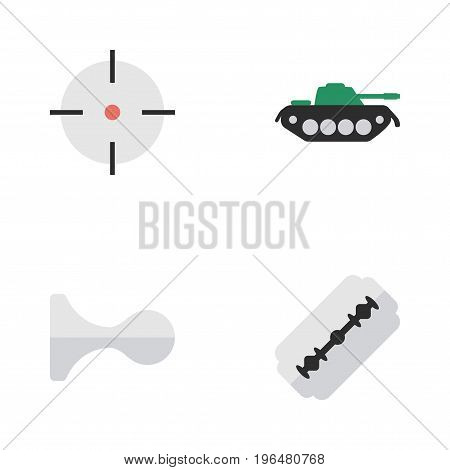 Elements Hunting, Military, Target And Other Synonyms Armored, Deer And Shot. Vector Illustration Set Of Simple Offense Icons.