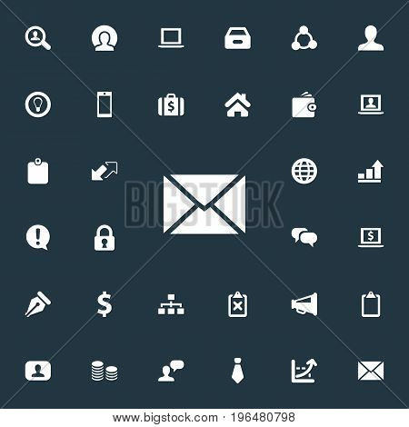 Elements Cooperation, Chatting, Monitor And Other Synonyms Letter, Box And Representative. Vector Illustration Set Of Simple Business Icons.