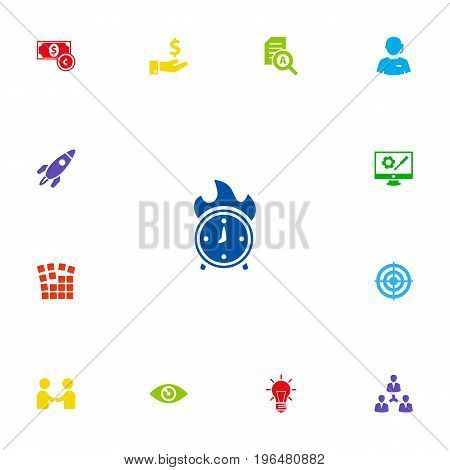 Collection Of Bulb, Startup Building, Call Center And Other Elements. Set Of 13 Startup Icons Set.