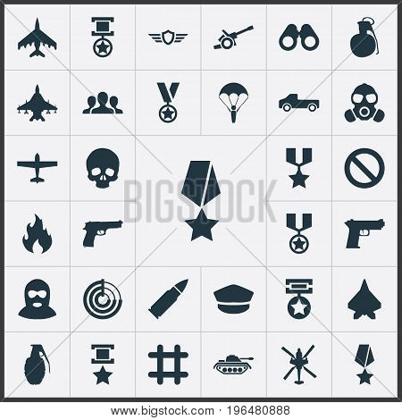 Elements Terrorist, Tank, Forbidden And Other Synonyms Landing, Plane And Sharpshooter. Vector Illustration Set Of Simple Combat Icons.