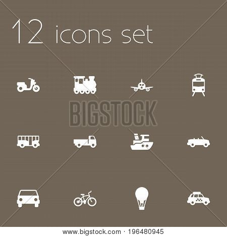 Collection Of Streetcar, Taxicab, Autobus And Other Elements. Set Of 12 Traffic Icons Set.