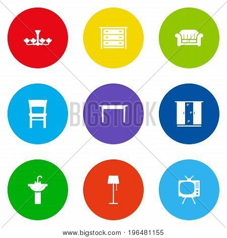 Collection Of Illuminator, Luster, Stool And Other Elements. Set Of 9 Situation Icons Set.