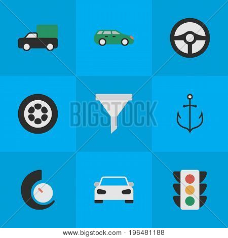 Vector Illustration Set Of Simple Traffic Icons. Elements Armature, Steering, Strainer And Other Synonyms Sport, Garage And Car.
