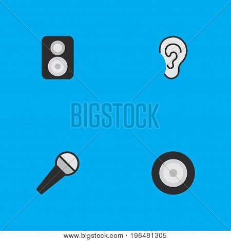 Elements Loudspeaker, Listen, Mike And Other Synonyms Loudspeaker, Loudspeakers And Mike. Vector Illustration Set Of Simple  Icons.
