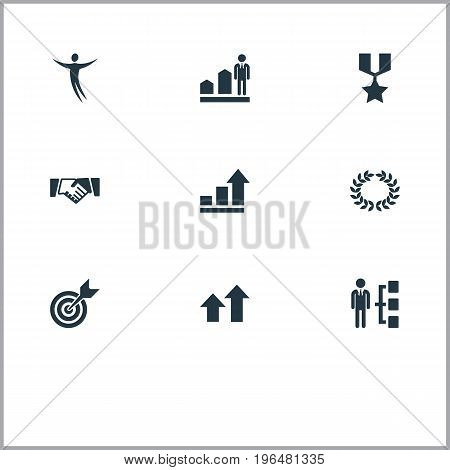 Elements Freeman, Reward, Diagram And Other Synonyms Hero, Medal And Growth. Vector Illustration Set Of Simple Success Icons.
