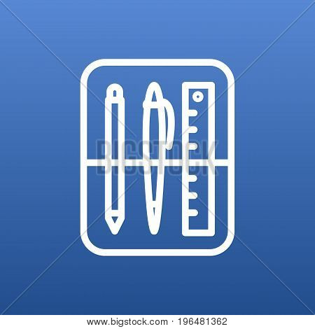 Vector Drawing Tools Element In Trendy Style. Isolated Case Outline Symbol On Clean Background.