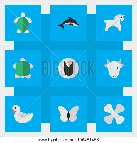 Elements Steed, Kine, Fish And Other Synonyms Fish, Milk And Tortoise. Vector Illustration Set Of Simple Wild Icons.