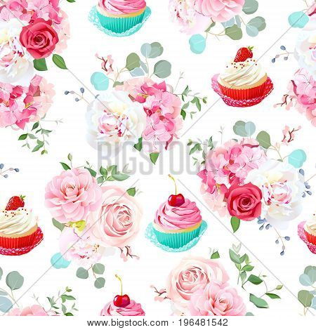 Blooming peony, hydrangea, camellia, cute tasty cupcakes and roses seamless vector print. Beautiful wedding and birthday pastries with berries design. All elements are isolated and editable