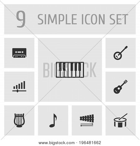 Set Of 9 Melody Icons Set. Collection Of Tape, Acoustic, Percussion And Other Elements.
