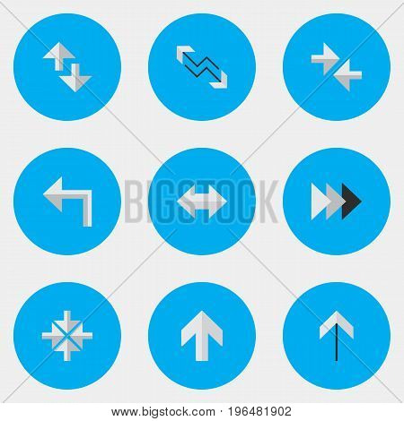 Vector Illustration Set Of Simple Indicator Icons. Elements Inside, Onward, Cursor And Other Synonyms Turn, Internet And Import.