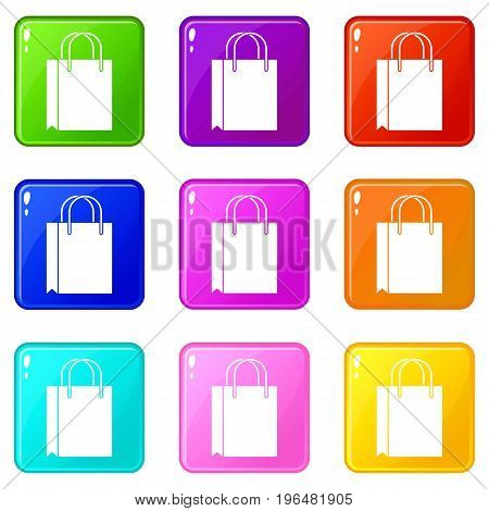 Shopping bag icons of 9 color set isolated vector illustration