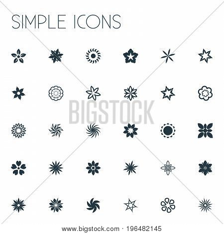 Elements Sweet Pea, Marigold, Gerberas And Other Synonyms Narcissus, Larkspur And Hibiscus. Vector Illustration Set Of Simple  Icons.